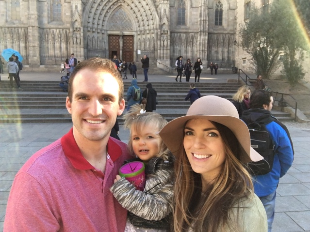 Family in front of Barcelona Cathederal